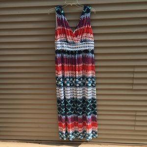 Ann Taylor pattern multicolor v neck midi dress